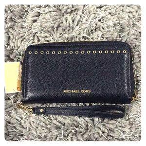 MICHAEL KORS Navy Blue Leather Wristlet